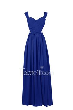 Tidetell.com Delicate A-line Sweetheart Straps Chiffon Long Bridesmaid Dress With Sexy Cutout, #royal blue# #plus size#  #floor-length#  #inexpensive#
