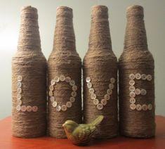Hilo envuelto amor botellas perla diseño rustico por OrangeCreek