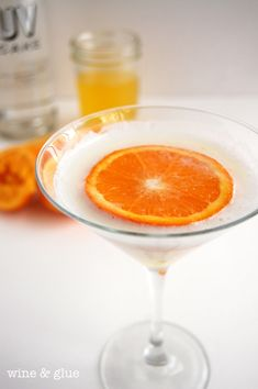 The Orange Dreamsicle Martini from Wine & Glue - make an orange simple syrup, add to vodka and half-n-half