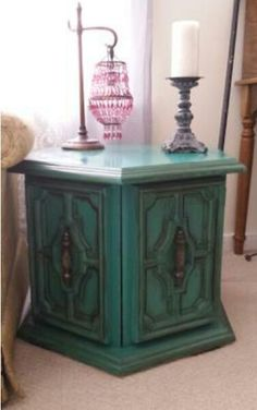 Octagon end table - after  Done in teal chalk paint and dark wax. (sold) https://www.facebook.com/stacysfurnflips