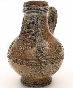 A Bartmannkrug/bellarmine jug, symbol of the German town of Frechen's ceramic tradition. (Beißel)