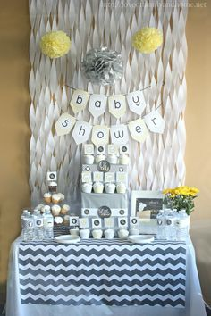 Gray & yellow themed baby shower.