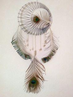 Peacock Dream Catcher Boho Dream Catcher by DreamyFlowerWonder