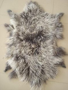 Tibetan/ Mongolian  Lamb Fur Long Pelt Frosted Grey