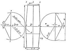 Рис. 45. Чертеж раскроя круглой головки: АВРЕ - половина окружности головы; ММ - первая глубина; ББ - вторая глубина