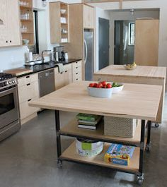 The kitchen islands provide so much storage and counter space, that they almost double my kitchen size. I had them built on casters so that...