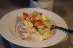 Snicker's Salad....it's what's for dinner :)      It's good.  Really good.  Yes, this is yet another recipe that is based on the wonders of plain old, boring, nonfat Greek yogurt....and it does not disappoint.  Do you remember the Snicker's salad recipe? (Is that ...