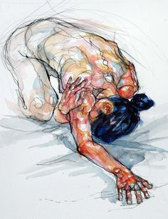Sylvie Guillot (French, b. 1972), kneeling figurative discreet nude female  anatomy artwork. sylvieguillot.com
