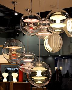 A Unique Example of Verner Panton's Lighting Design Skills - VP Globe Pendant Lamp by Verpan Cool Lighting, Lighting Design, Pendant Lighting, Pendant Lamps, Mid Century Modern Lighting, Globe Pendant, Glass Globe, Lamp Design, Colored Glass