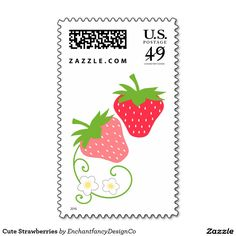 Add stamps to all your different types of stationery! Find rubber stamps and self-inking stamps at Zazzle today! Strawberry Pictures, Cute Strawberry, Cute Fruit, Fruit Nail Art, Strawberry Fields Forever, Tutti Frutti, Pendant Design, Self Inking Stamps, Postage Stamps