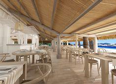 Beach House aan het strand van Playa d'en Bossa Beach Restaurant Design, Open Air Restaurant, Seafood Restaurant, Pig Beach, Beach Fun, Playa Den Bossa, Ibiza Formentera, Beach Cafe, Patio Gazebo