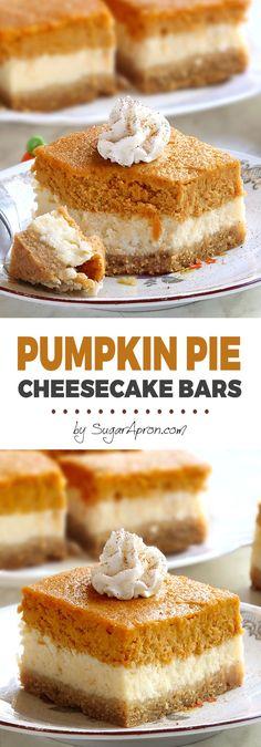 Pumpkin Pie Cheesecake Bars - Sugar Apron Pumpkin Pie Cheesecake Bars are everything you love about spiced pumpkin pie and tangy cheesecake, just packed into one sweet dessert. They're absolutely delicious! Pumpkin Cheesecake Bars, Pumpkin Pie Bars, Pumpkin Dessert, Pumpkin Spice, Spiced Pumpkin, Pumpkin Pumpkin, Cheesecake Desserts, Gluten Free Pumpkin Bars, Pumpkin Squares