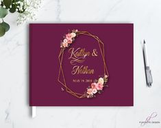 Geometric Guestbook with gold foil, Geometric guest book, Gold Foil Wedding Guest book, Gold and Purple, custom color, Real Foil Calligraphy Guest Book, hardcover guestbook, modern wedding guest book, real gold foil printed guest book, gold foil guestbook, Geometric frame, geometric shape wedding
