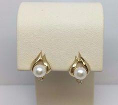 14K YELLOW GOLD 5.7 MM PEARL 1.8 MM DIAMOND STUD EARRINGS #Stud