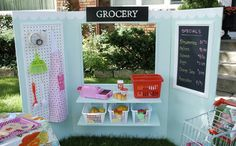 Made from a single sheet of 4′x8′ plywood, the Make Believe Station can be transformed into almost any structure your little one can imagine. Grocery store