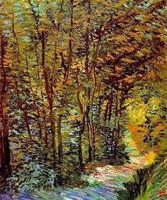 """Vincent van Gogh """"Sentiero nel bosco"""" Parigi, 1887 olio su tela 46 x 38,5 cm Van Gogh Museum, Amsterdam Un bel dipinto del periodo parigino dove la pennellata spessa e materica che esploderà negli anni successivi, comincia a farsi strada"""