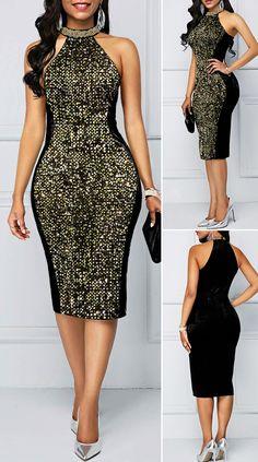 Sequin Detail Black Bib Neck Sheath Dress HOT SALES 2020, beautiful dresses, pretty dresses, holiday fashion, dresses outfits, dress, cute dresses, clothes, classy & elegant, elegant style, mode trends 2020, trending, fashion, fashion looks, moda, women, beautiful, beauty, buy, sale, shop, shopping, vestidos elegantes, vestidos fofos, vestidos bonitos Cute Dress Outfits, Classy Work Outfits, Classy Dress, Emo Outfits, Short African Dresses, African Fashion Dresses, Elegant Dresses For Women, Pretty Dresses, Beautiful Dresses