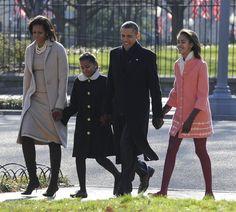 Barack Obama, Michelle Obama, Malia Obama and Sasha Obama