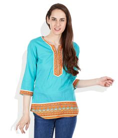 9732bbd524 Biba Turquoise Printed Cotton Kurti available at snapdeal for Rs.489