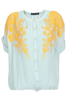 Powder blue top with yellow embroidery available only at Pernia's Pop-Up Shop.