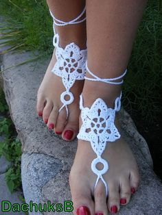 Hand crochet barefoot lace sandals white pure by dachuksb7196, $10.00