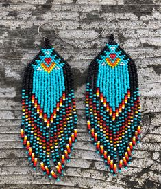 Tassel Earrings Beaded Statement Earrings Square Bohemian Handmade Fringe Drop Dangle Earrings for Women Girls – Fine Jewelry & Collectibles Beaded Earrings Native, Beaded Earrings Patterns, Seed Bead Earrings, Fringe Earrings, Diy Earrings, Beading Patterns, Beaded Jewelry, Beaded Necklace, Hoop Earrings