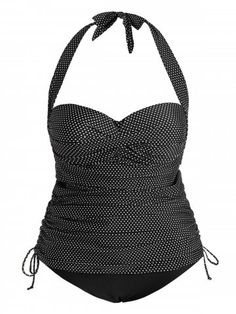 713b6e91e Polka Dot Halter Padded Plus Size Push Up Tankini Swimsuit Moda Praia