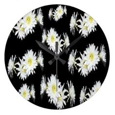 Black White Cacti Flower Pattern Large Wall Clock - patterns pattern special unique design gift idea diy