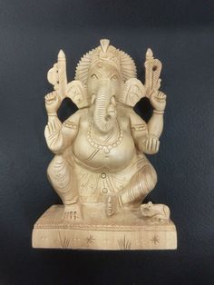 """6"""" Wooden GANESH Statue Hand Carved Hindu Elephant God India Brown Lord+SHIPPING"""