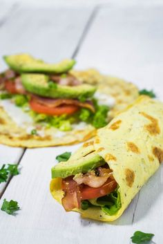 """Breakfast """"Burrito"""" with Bacon and Avocado- Use low-carb tortillas."""