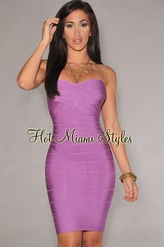 Lavender Strapless Bandage Dress