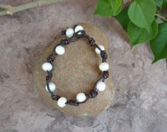 Leather and Freshwater Pearl Bracelet by StrayDogsBlueDaisies
