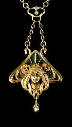 A gold, plique-à-jour enamel and rose diamond-set pendant in an Art Nouveau design.