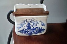 Vintage Kitchen Storage Blue and White by ThisandThatCapeCod