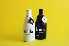"""Branding & Packaging for Brücke Bier by Anna Salvador """"Brücke it's a brand formed by a Schwarzbier and a Weissbier. Its name refers to Franz Ernst Brückmann, a german doctor who wrote a play in which the Brunswick Mumme was mentioned as a drink with. Blog Design Inspiration, Packaging Design Inspiration, Beer Packaging, Brand Packaging, Packaging Ideas, Brand Identity Design, Bottle Design, Vodka Bottle, Beer Bottles"""