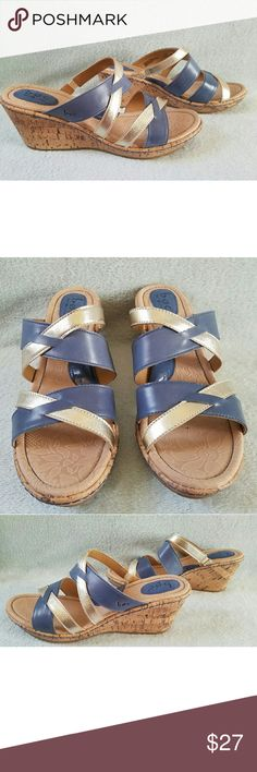 28dae414614ee5 women s cork wedge sz 11 NEW without tags BOC Born Concept women s cork  wedge sandals slip ons size Blue   Gold BOC Shoes Wedges
