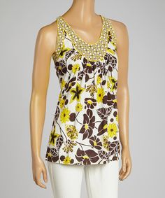 Loving this Aryeh Yellow & Brown Floral Sleeveless Top on #zulily! #zulilyfinds