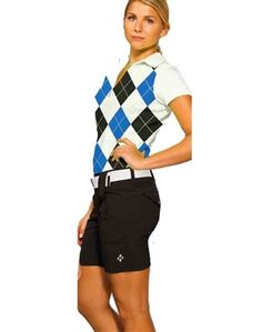 ladies cobalt/black argyle ladies golf polo and black golf shorts. | #golf4her #jofit