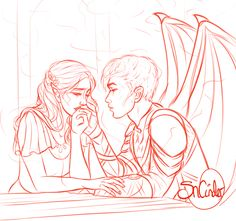 sncinder: Elriel sketch prompt with Elain kissing the scars on Azriels hands  i am dead for this ship @cassianandnesta thanks for the idea! i will def consider colouring this one in full :)