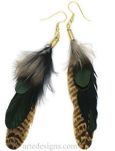 Rich Green Black Brown Feather Earrings