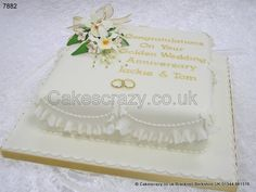 Golden Wedding Anniversary Cake http://www.cakescrazy.co.uk/details/golden-wedding-anniversary-cake-7882.html