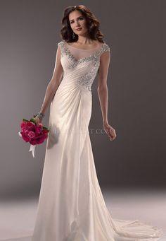 Floor Length Long Maggie Sottero Maria Straight Silver Wedding Dress