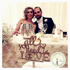 Custom wood cake topper .. All you need is love for a rustic barn themed wedding