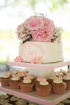 monogrammed wedding cake and cup cake tower   Live View Studios