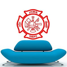 Fireman Firefighter Maltese Symbol Removable Wall Sticker Art Home Office Room Mural Decor Vehicle Car Truck Window Bumper Graphic Decal 6 inch  15 cm Wide MATTE GOLD Color ** See this great product.
