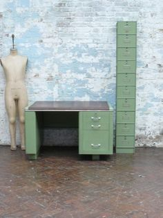 Industrial desk and cabinet