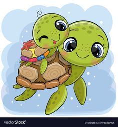 Cartoon water turtles father and son on a blue background - Buy this stock vector and explore similar vectors at Adobe Stock Cute Turtle Drawings, Baby Animal Drawings, Cute Animal Drawings Kawaii, Cute Cartoon Drawings, Doodle Drawings, Cartoon Cartoon, Cute Cartoon Animals, Cute Animals, Cute Turtle Cartoon