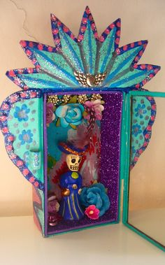 mexicantin wall art | Turquoise blue and pink Mexican tin nicho by TheVirginRose on Etsy