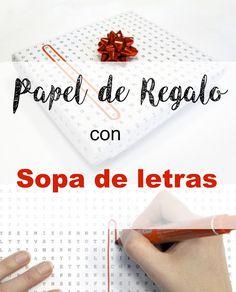 Reciclando con Erika : Papel de regalo con SOPA DE LETRAS