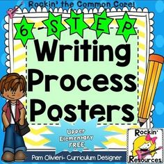 Writing Process Posters and Printable- Adorable! Paragraph Writing, Narrative Writing, Informational Writing, Opinion Writing, Persuasive Writing, Cute Writing, Writing Ideas, Writing Process Posters, Cute Bulletin Boards